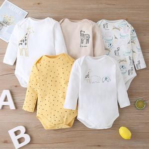 5 pezzi Cartoon animal print byddler bodysuit new girl bebes cotone manica lunga neonato onesie baby boy inverno vestiti 0-24m 201118