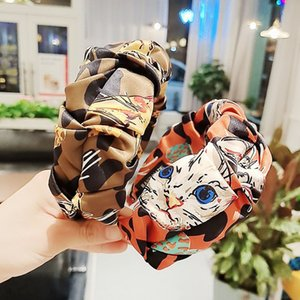 2020 hot sale leopard cat's head pleated headband personalized versatile headband wash face hair band hair accessories