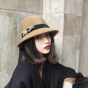 Stingy Breim Hats Pearls Украшение Женщины Федора Шляпа Мягкая шерсть Элегантные Плоские Широкие Дамы Черный Хаки