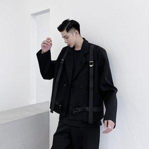 Erkek Takım Elbise Blazers Erkek Harajuku Japonya Kore Streetwear Suit Ceket Giyim Sahne Giyim Erkekler Askı Toka Nedensel Kısa Stil Ceket