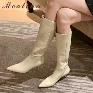 Meotina mulheres joelho alta botas sapatos genuíno couro alto salto alto botas pontiagudas dedo pleated saltos finos moda feminina 401
