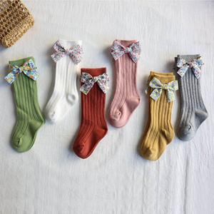 INS cotton baby socks floral bowknot girls socks long Infant socks newborn sock kids knit knee high sock girls clothes baby wear B2246