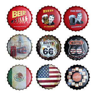 Bar Pub Club Retro Decoration Beer Bottle Cap Round Wall Sign Metal Tin Signs Plate Art Plaques Garage Home Decor Iron Painting T200319
