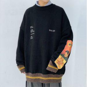 PADEGAO Men's Sweater 100% Cotton Hip Hop Street Clothes Van Gogh Painting Embroidery Retro Autumn Wool Sweaters Men PDG1825