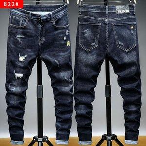 Mens Primavera Autunno sexy strappato foro dei jeans denim dei pantaloni della matita sottile casuale Stretch Pantaloni Maschio Zipper Pantaloni HOWDFEO