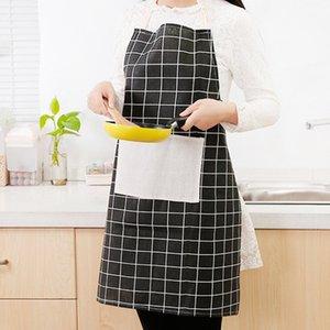 القطن الكتان المئزر أسود أبيض رمادي منقوشة الطباعة الكبار المريلة مع كبير جيب المطبخ الخبز اكسسوارات الطبخ مريلة مآزر DBC BH4627