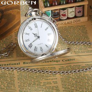 Gorben Reloj de la vendimia masónico gratuito -Mason de lujo de plata cuarzo reloj de bolsillo de Steampunk de los hombres collar de la cadena 'S reloj de bolsillo del Fob