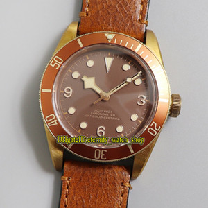 XF Top Version Bronze Case Japão Miyota 9015 Automático Digão Marrom Automático Red Bezel 79250 Mens Assista Antique Leather Strap Sport Watches 0005