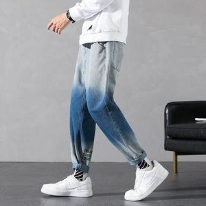 Pantaloni neri Indigo allentati di Hip Hop Jeans larghi Uomini '90 Skater High Street sfumatura di colore diritte jeans gamba per Man 2020 M-3XL