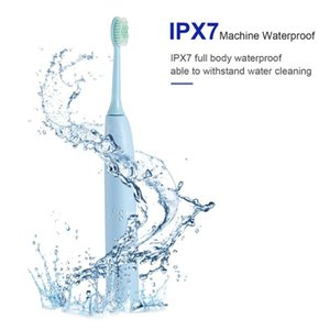 U-kiss Blue Waterproof IPX 7 Electric Sonic Toothbrush With DuPont Bristles One Key to Switch Five-speed Cleaning Mode