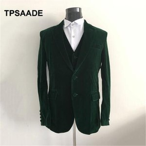 Мужские костюмы Blazers темно-зеленый бархат с помощью индивидуальных мужских костюм для свадьбы Tuxedo Terno Masculino изготовленные на заказ 2 штуки (куртка + брюки)