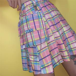 Harajuku Plaid Skirts Women Kawaii High Waist A-line Pleated Mini Skirts Rainbow Korean Japanese School Uniform W1218