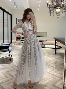 Dantel Bahar Kadın Giyim Nakış Örgü Beyaz Ve Siyah Kadın Uzun Kollu V Boyun Dantel Uzun Beyaz Elbiseler Parti Lady Vestidos 2021 Yeni