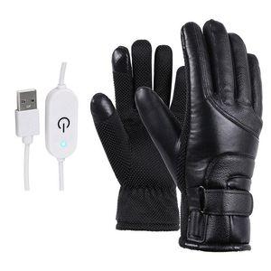Luvas Inverno elétrico aquecido Windproof Ciclismo Luvas Esqui Quente Alimentado por USB Para Touchscreen tempo frio Windproof Anti Slip