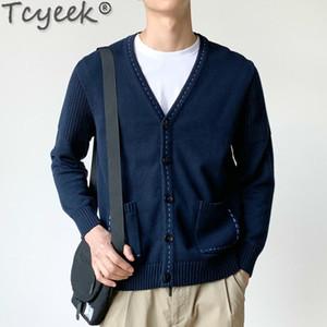 Tcyeek 100% Coton Cardigan Homme coréenne Casual Pull Hommes Pull-overs tricotés Automne Vêtements d'hiver 2020 Hommes Homme 12 LW Manteau