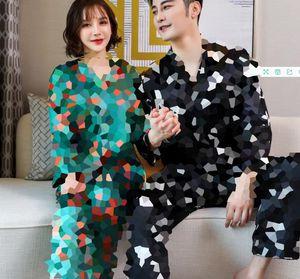 Top Grade Printed Couple Sleepwear Fashion Ice Silk Casual Nightgowns High Quality Satin Romantic Sexy Pajamas