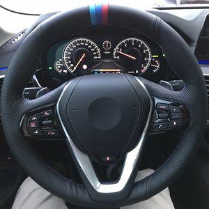Dirección DIY hecho a mano de costura rueda de coche cubierta Wrap Funda Volante para BMW G20 G21 G30 G31 G32 G01 X3 X4 X5 G02 G05 G07 Z4 G29 X7