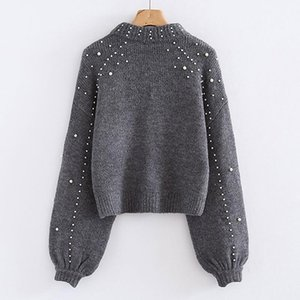 BigSweety Women Turtleneck Sweaters Pearl Beading Suéter Otoño Invierno Cálido Linterna Mensaje Mujer Jersey Pull Pull Heched PullOvers