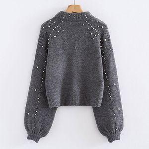 Bigsweety Женщины водолазка свитер Pearl Бисероплетение свитер осень зима теплых фонарики рукав Женщина Jumper Pull Трикотажных пуловеры