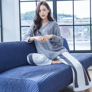 2020New Automne Hiver Pyjamas Femmes épaissies Vêtements de nuit chaleureux Grey Coral Fleece Sexy Col V nocturne Pijamas Mujer Homewear