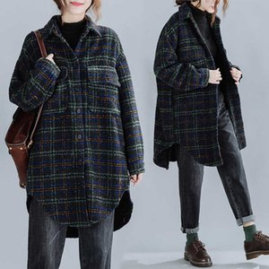 Новая осень зима женские шерстяные пальто среднего длинного большого размера свободная повседневная клетчатая куртка дамы мода смешанные шерстяные варианты вершины 202