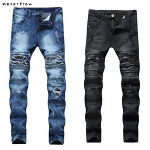 2020 yeni Sıska Siyah Kamuflaj Yamalar Jeans Men Yüksek streç için Biker Motosiklet Jeans Mens artı Boyutu 28-42 Ripped