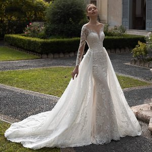 Scoop Mermaid 2 IN 1 Wedding Dresses Appliques Long Sleeves Full Lace Bride Dress Detachable Court Train Wedding Gown Plus Size