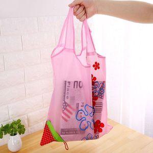 New Strawberry Foldable bag Reusable Eco-Friendly Shopping Bags Pouch Storage Handbag Strawberry Foldable Folding Tote Storage Bag