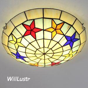 Mediterranean Style Glass Ceiling Lamp Handmade Tiffany Light Hotel Cafe Bar Kids Bedroom Nursery Kindergarten Pastoral Lighting