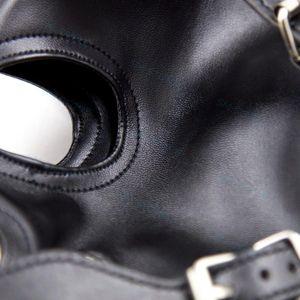 Restriant Slave full mouth Faux Gag Mask Hood Kopfschutz Leder Eyes Open Gimp # T89 Grpmq