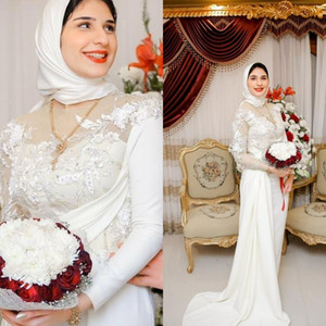 2020 New Muslim Wedding Dresses Plus Size Lace Beaded Bridal Gowns with Hijab Saudi Arabic Wedding Dress