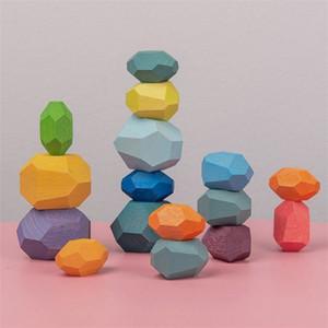 Pietra colorata di legno dei bambini Jenga Building Block Giocattolo educativo Creativo Nordic Style Stacking Game Rainbow Giocattolo in legno regalo