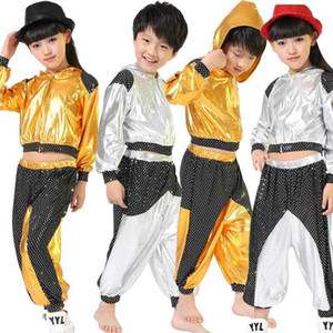 Filles garçons gold argent ballroom jazz hip hop concurrence costume vêtements vêtements vêtements hotte chemise top pantalon danse ust1