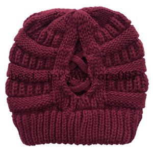 Criss21 Cross Ponytail Beanie Women Messy Bun Cable Knit Hat Winter Warm High Bun Knitted Skull Cap Outdoor Ski Caps Free