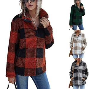 INS Hot Womens Loose Thick Sweatshirts Plaid Stand Collar Pullover Sweater Plush Jacket Spring Autumn Casual Clothes Womens Warm Clothing