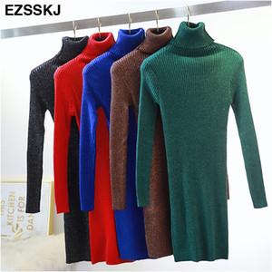 Las mujeres del vestido Ezsskj alta elasticidad suéter de invierno otoño caliente femenina del cuello alto de punto elegante del bodycon vestido del club del brillo de OL 201008