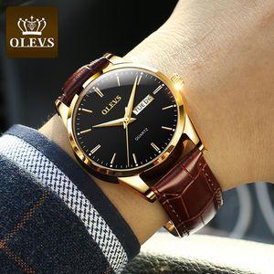 OLEVS Top Brand Men Classic Quartz Reloj impermeable Correa de cuero Negocio Popular Casual Hombres Reloj