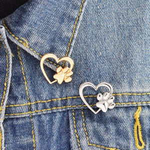 Nouveau Paw Coeur Broche Chien Chat Paws chaton griffe Pins Badge Pull Femmes