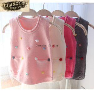 Tricoté main couleur Set Top enfants Qualité manches Pulls Enfant Fille Pull Manteau tricot veste