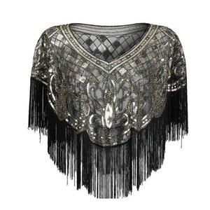 Mesh Sequins Shawls Ladies New Elegant Retro Style Temperament Tassels Party Banquet Dresses Accessories High Qualit jllUFy