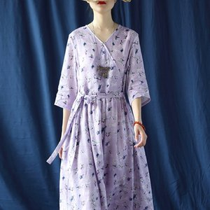Mo Rami mor çiçek sanatsal Dijital Dressloose V yaka kadın 2054 mor Mo dr Xi Xi çiçek sanatsal elbise baskı baskı 3iLem 2054