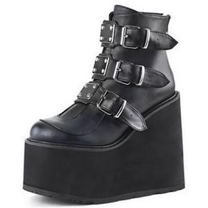 2020 Plateaustiefel Winterschuhe Frauen Ankel Stiefel Metallschnalle Punk Female Wedges High Heels Lederstiefel Botas Mujer Plussize C1023