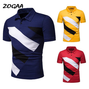 ZOGAA 2020 men's summer fashion short-sleeved casual sports shirt tops breathable striped stitching shirt