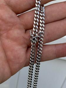 رجل ميامي الكوبية لينك سلسلة الصلبة حقيقي 925 الفضة الاسترليني التعبئة مربع قفل قلادة 6MM