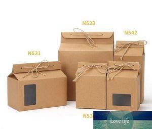 Té de embalaje de cartón Kraft Bolsa de papel, la ventana clara caja de galleta de la torta de almacenamiento de alimentos Permanente