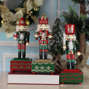Hand Painted 36CM Square Box Nutcracker Music Box Home Furnishing Cartoon Character Nutcrackers Puppet Music Box