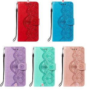 Emboss Flower Wallet Leather Case For Iphone 12 Mini 11 Pro Max X XS XR SE2 8 7 PLUS LG K52 Google Pixel 4A 4G Strap Flip Stand Phone Cover