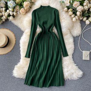 Teeuiear delgado suéter de punto de Winter Party midi otoño de la vendimia plisada mujeres oficina vestidos hasta la rodilla vestido 201008