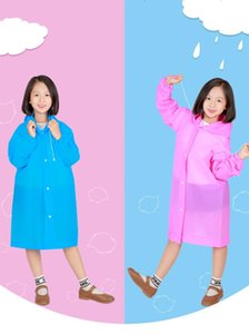 EVA Outdoor Travel Fashion Environmental Friendly Light Thickened Raincoats For Kids Factory Wholesale 8 Colors 2 Style
