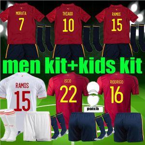 Erkekler Çocuklar 2020 2021 España Rodrigo Paco Alcacer İspanya Futbol Jersey Morata Ramos Sarabia Thiago Iniesta Futbol Gömlek Kitleri Camisetas Üniforma